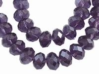 Kristal rondel hand geslepen helder amethist paars