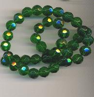 Kristal rond facet  donker groen