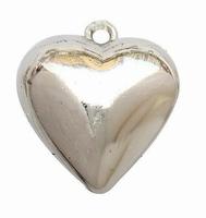 Metal look hanger hart middel glad zilver