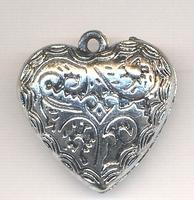 Zilver hanger hart bewerkt