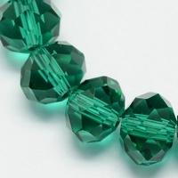 Kristal rondel hand geslepen helder  groen/turquoise