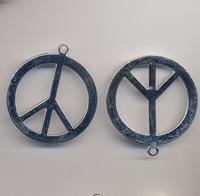 Peace teken groot zilver