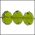 Kristal rondel hand geslepen helder leger groen