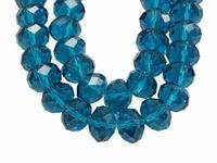 Kristal rondel hand geslepen helder Turquoise