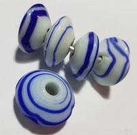 Delfs blauwe kraal rondel