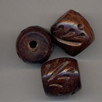 Bewerkte kraal ovaal donker bruin