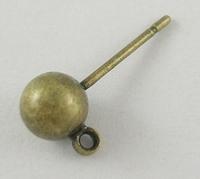 Oorsteker bal antiek brons