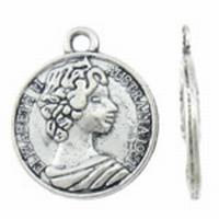 munt hanger antiek zilver