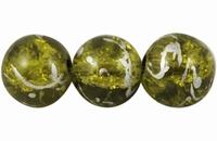 Glas kraal  leger groen zilver