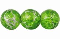 Glas kraal  Lime groen zilver
