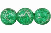 Glas kraal groen zilver