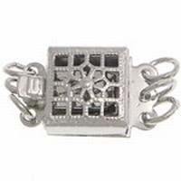 Steek slotje 3 strengen met ringetjes zilver