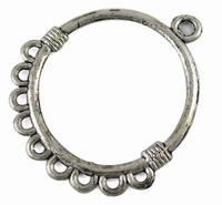Ring rond component antiek zilver