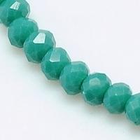 Kristal rondel hand geslepen ondoorzichtig  turquoise