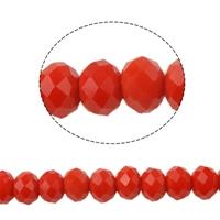Kristal rondel hand geslepen ondoorzichtig rood