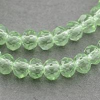 Kristal rondel hand geslepen helder licht groen