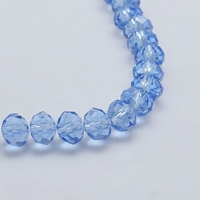 Kristal rondel hand geslepen helder hemel blauw