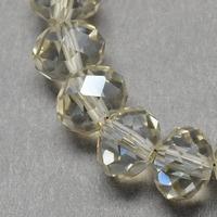 Kristal rondel hand geslepen helder  antraciet