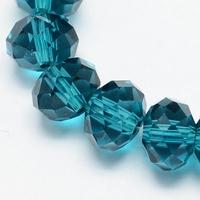 Kristal rondel hand geslepen helder blauw