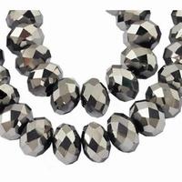 Kristal rondel hand geslepen plated zilver