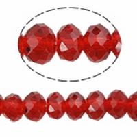 Kristal rondel hand geslepen helder rood