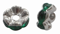 Rhinestone Spacer donker groen/turquoise