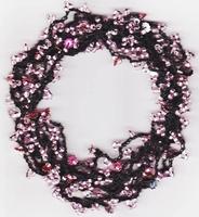 Haak pakketje rose op elastiek gehaakt