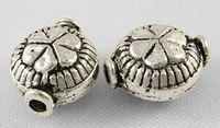 Bloem kraaltje plat antiek zilver