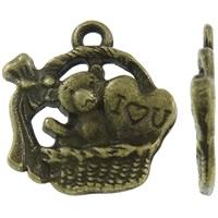 Liefdes mandje beer antiek brons