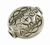 Kraal rond plat antiek zilver