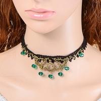 Zwart kant met rondel kristalletje turquoise
