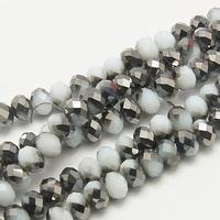 Kristal rondel hand geslepen helder  zwart/grijs