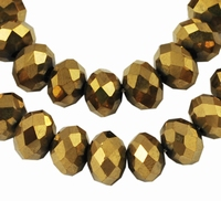 Kristal rondel hand geslepen plated goud