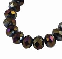 Kristal rondel Zwart Goud