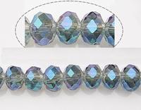Kristal rondel blauw turquoise met goud plated