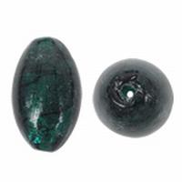 Turquoise ovaal zilverfolie zwart gestreept