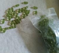 Mos groen zilverfolie lampwork plat rond