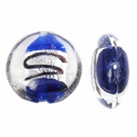 Blauw donker zilverfolie lampwork plat rond