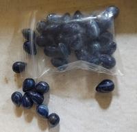 Blauw zilverfolie lampwork ovaal