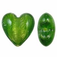 Mos groen zilverfolie hart groot