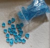 Blauw zilverfolie druppel zwart gestreept