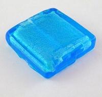 Blauw zilverfolie vierkant plat