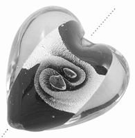 Zwart zilverfolie lamwork hartjes