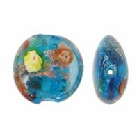 Blauw zilver en goud zand met bloem motief