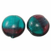 Aubergine turquoise duo kleur zilverfolie plat rond