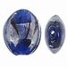 Blauw donker zilverfolie lampwork ovaal